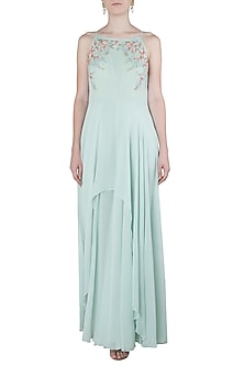 Mint Green Embellished Jumpsuit by Julie by Julie Shah