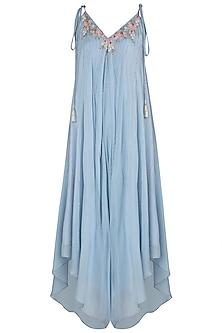 Blue Asymmetrical Floral Embroidered Jumpsuit by Julie by Julie Shah