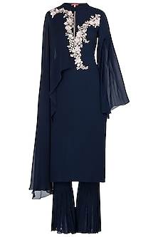 Blue Embroidered Jumpsuit by Julie by Julie Shah