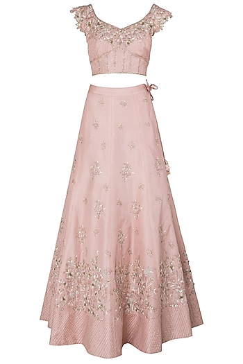 Pink Embroidered Lehenga Set by Julie by Julie Shah
