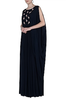 Navy Blue Embroidered Cape Jumpsuit by Julie by Julie Shah