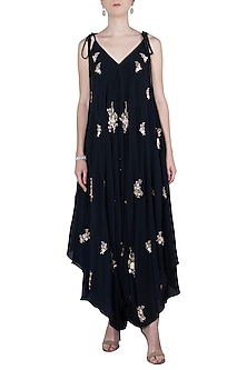 Navy Blue Embroidered Dhoti Style Jumpsuit by Julie by Julie Shah