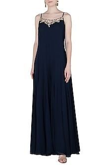 Navy Blue Side Pleated Embroidered Jumpsuit by Julie by Julie Shah