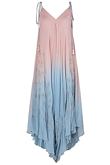 Pink and Blue Embroidered Dhoti Style Jumpsuit by Julie by Julie Shah