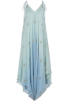 Mint Green and Blue Embroidered Dhoti Style Jumpsuit by Julie by Julie Shah