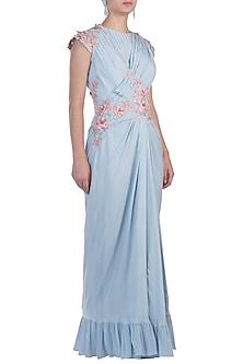 Blue Drape Saree Gown by Julie By Julie Shah