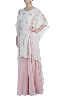 Ivory Embroidered Kaftan with Dhoti Pants by Julie By Julie Shah