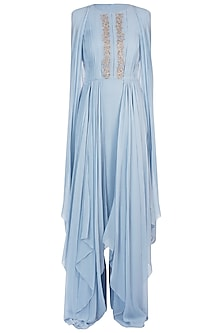 Blue Embroidered Asymmetrical Tunic and Palazzo Pants by Julie By Julie Shah
