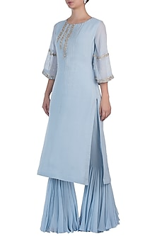 Blue Embroidered Kurta with Sharara Pants by Julie By Julie Shah