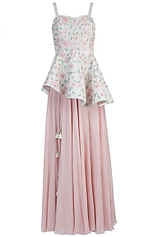Pink Embroidered Peplum Top with Skirt by Julie By Julie Shah
