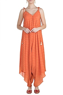 Orange Embroidered & Printed Dhoti Jumpsuit by Julie by Julie Shah