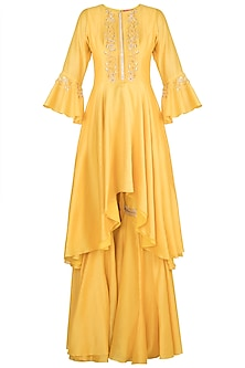 Yellow Embroidered Asymmetric Sharara Set by Julie by Julie Shah