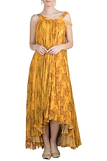 Mustard Printed Asymmetric Tunic by Julie by Julie Shah