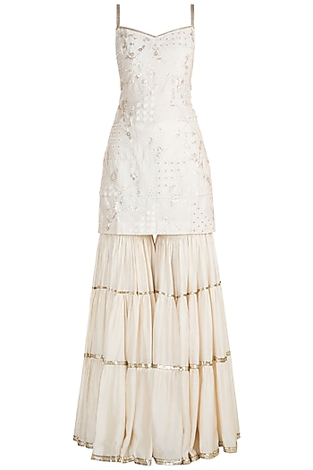 White Embroidered Sharara Set by Julie by Julie Shah