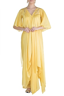 Yellow Embroidered Asymmetric Tunic With Pants by Julie by Julie Shah