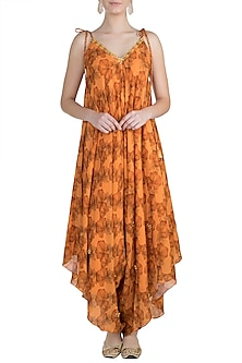 Orange Embroidered Printed Dhoti Jumpsuit by Julie by Julie Shah