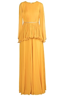 Yellow Embroidered Peplum Jumpsuit by Julie by Julie Shah