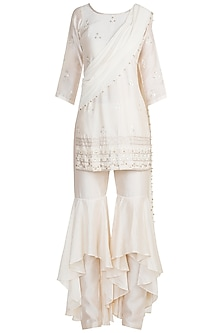 White Embroidered Pre-Draped Sharara Set by Julie by Julie Shah