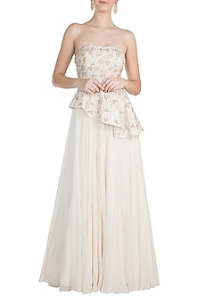 White Embroidered Peplum Dress by Julie by Julie Shah