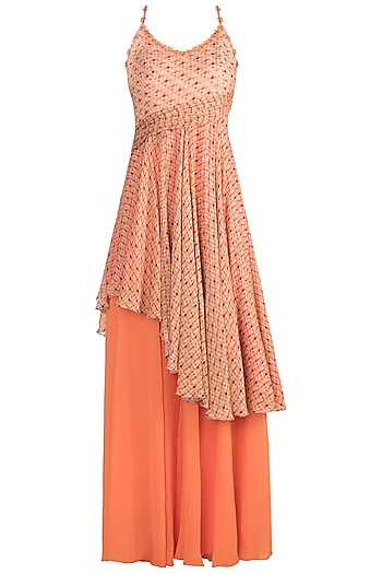 Orange Asymmetric Tunic With Palazzo Pants by Julie by Julie Shah