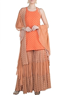 Orange Embroidered Printed Sharara Set by Julie by Julie Shah
