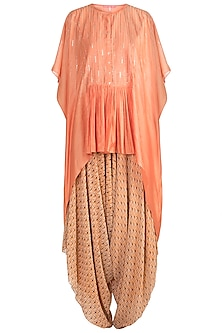 Orange Embroidered Kaftan With Printed Dhoti Pants by Julie by Julie Shah