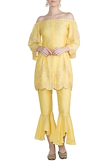 Yellow Embroidered Sharara Set by Julie by Julie Shah