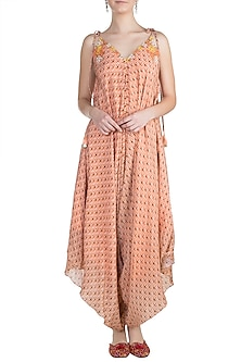 Peach Embroidered Printed Dhoti Jumpsuit by Julie by Julie Shah