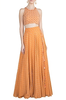 Orange Printed Top With Skirt by Julie by Julie Shah