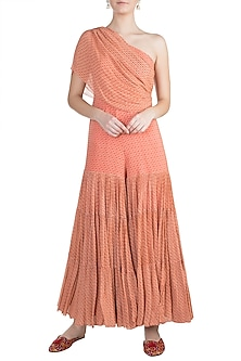 Peach Printed One Shoulder Sharara Jumpsuit by Julie by Julie Shah