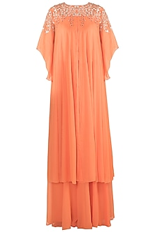 Orange Embroidered Kurta With Palazzo Pants by Julie by Julie Shah