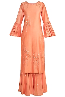 Peach Embroidered Kurta With Sharara Pants by Julie by Julie Shah