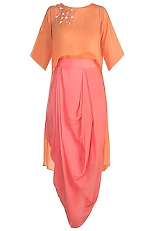 Orange Embroidered High-Low Tunic With Draped Skirt by Julie by Julie Shah