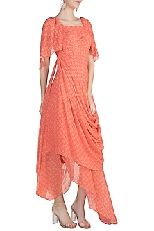 Peach Printed Asymmetric Tunic by Julie by Julie Shah
