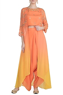 Peach Embroidered Top With Dhoti Pants & Ombre Cape by Julie by Julie Shah