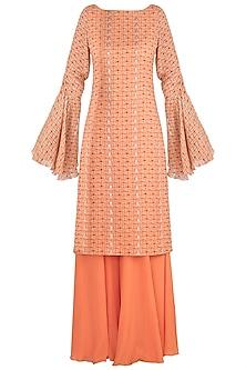 Orange Printed Kurta With Sharara Pants by Julie by Julie Shah