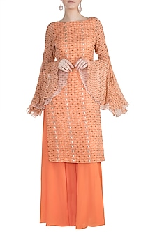 Orange Printed Kurta With Sharara Pants by Julie by Julie Shah