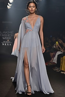 Light Blue Embroidered Shoulder Draped Gown by Julie by Julie Shah