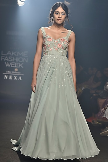 Mint Blue Embellished Gown by Julie by Julie Shah