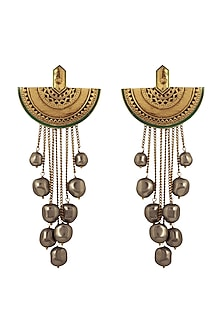 Gold Finish Moon Drop Earrings by JJ Valaya X Confluence