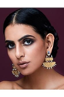 Gold Plated Isfahan Grandeur Earrings by JJ Valaya X Swarovski