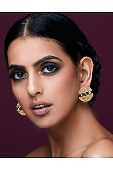 Gold Plated Isfahan Circular Earrings by JJ Valaya X Swarovski