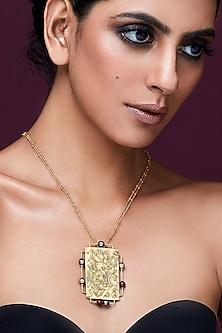 Gold Plated Isfahan Rectangular Pendant by JJ Valaya X Swarovski