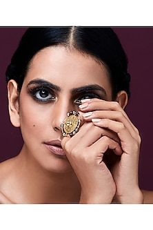 Gold Plated Isfahan Ring With Swarovski Crystals by JJ Valaya X Confluence