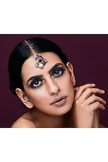 Gold Plated Isfahan Maang Tikka With Swarovski Crystals by JJ Valaya X Confluence