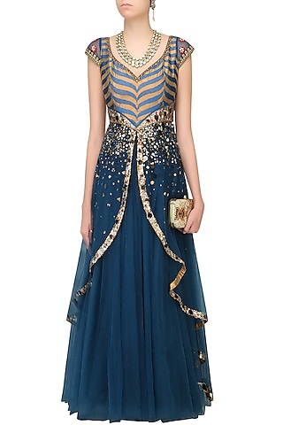 Blue Double Layered Chevron Pattern Hand Embroidered Gown by JJ Valaya
