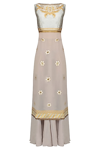 Grey Thread Embroidered Sleeveless Kurta Set With Flared Skirt by JJ Valaya