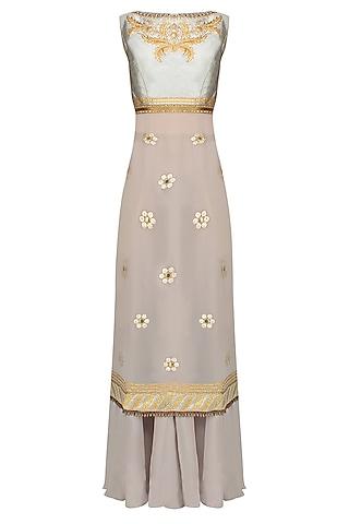 Grey Thread Embroidered Sleeveless Kurta Set With Flared Skirt by JJ Valaya