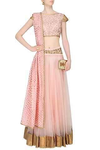 Baby Pink Floral Embroidered And Banarsi Boota Applique Lehenga Set by JJ Valaya