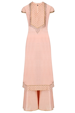 Pink Thread Embroidered And Banarsi Boota Applique Kurta Set With Palazzo Pants by JJ Valaya